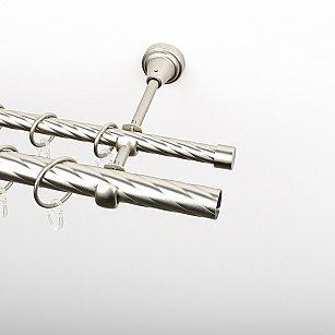 Карниз металлический стыкованный, 2-рядный, хром матовый, крученая труба, ø 16 мм, ø 25 мм