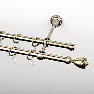 """Карниз металлический стыкованный, 2-рядный """"Ремус"""", золото антик, гладкая труба, ø 16 мм"""