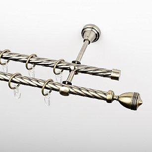 """Карниз металлический стыкованный, 2-рядный """"Ремус"""", золото антик, крученая труба, ø 16 мм"""