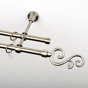 """Карниз металлический стыкованный, 2-рядный """"Виола"""", золото антик, гладкая труба, ø 16 мм"""