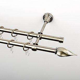 """Карниз металлический стыкованный, 2-рядный """"Витро"""", золото антик, гладкая труба, ø 16 мм"""