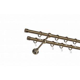 Карниз металлический 2-рядный золото антик, гладкая труба, ø16 мм
