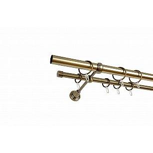 Карниз металлический 2-рядный золото антик, гладкая труба, ø25 мм