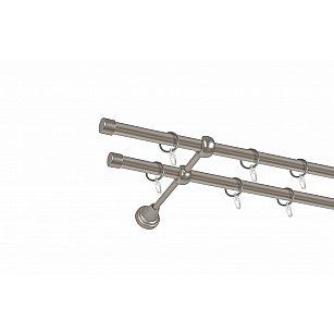 Карниз металлический 2-рядный хром матовый, гладкая труба, ø16 мм