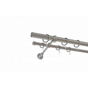 Карниз металлический 2-рядный хром матовый, гладкая труба, ø25 мм