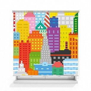 """Рулонная штора ролло термоблэкаут """"Пиксельный город"""""""