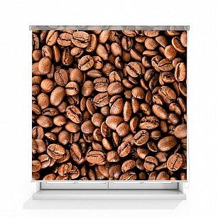 """Рулонная штора ролло лен """"Зерна кофе"""""""