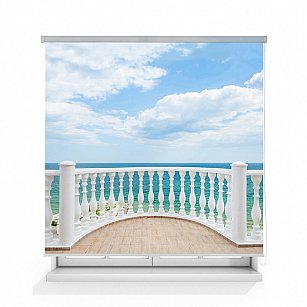 "Рулонная штора ролло термоблэкаут ""Балкон с видом на океан"""