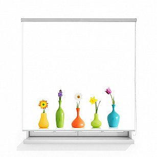"Рулонная штора ролло лен ""Цветы в вазах"""