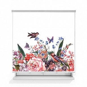 "Рулонная штора ролло лен ""Птицы на цветах"", 120 см-A"