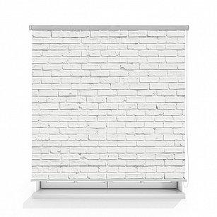 "Рулонная штора ролло термоблэкаут ""Кирпичная стена белая"""