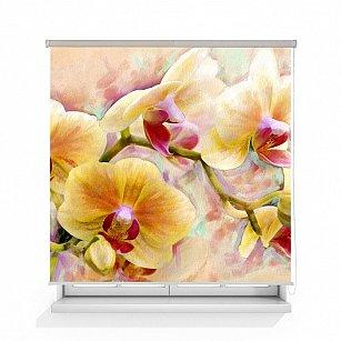 """Рулонная штора ролло термоблэкаут """"Орхидея живопись"""", 160 см-A"""