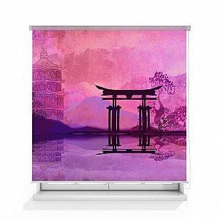 """Рулонная штора ролло лен """"Храм Япония"""", 160 см-A"""