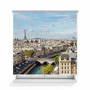 """Рулонная штора ролло лен """"Вид на Париж"""""""