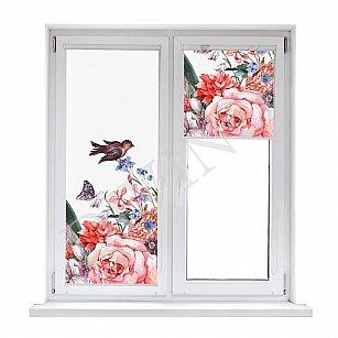 """Рулонная штора лен """"Птицы на цветах"""", 43 см-A"""