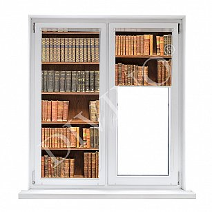 "Рулонная штора лен ""Книжный шкаф"""