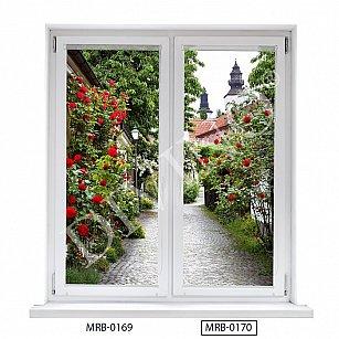 "Рулонная штора лен ""Аллея роз"", 43 см-A"