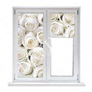 """Рулонная штора лен """"Розы белые"""""""