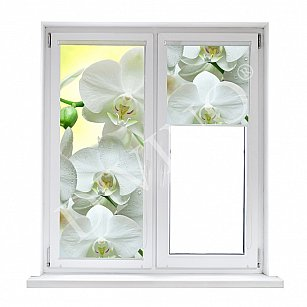 """Рулонная штора лен """"Белая орхидея"""", 52 см-A"""