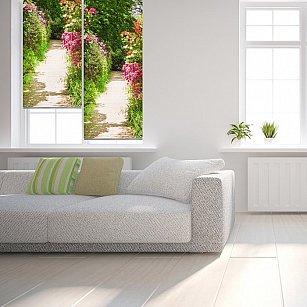"Рулонная штора ролло лен ""Выход в сад"", 120 см-A"