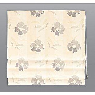 Римская штора Цветы на полоске-A, бежевый, ширина 60 см