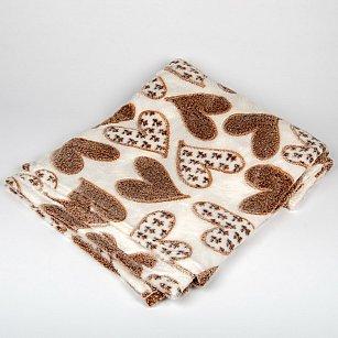 Плед Бамбук Сердца, коричневый, 180*200 см