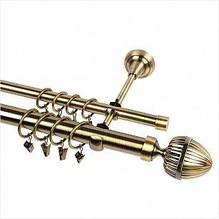 """Карниз металлический 2-рядный """"Одеон"""", золото антик, гладкая труба"""