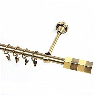 """Карниз металлический 1-рядный """"Сигма"""", золото антик, гладкая труба, 19 мм"""