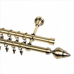 """Карниз металлический 2-рядный """"Копе"""", золото антик, гладкая труба, 19 мм"""