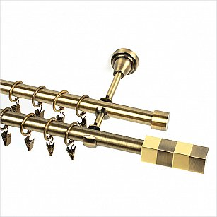 """Карниз металлический 2-рядный """"Сигма"""", золото антик, гладкая труба, 19 мм"""