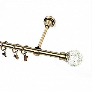 """Карниз металлический 1-рядный """"Билбао"""", золото антик, гладкая труба, ø16 мм"""