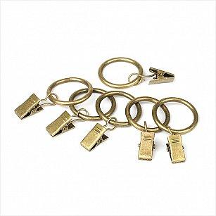 Комплект колец для металлического карниза, золото антик, №10, диаметр 25 мм