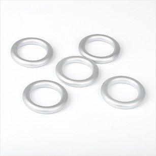 Комплект колец из металлизированной пластмассы для металлического карниза, серебро матовое, диаметр 28 мм