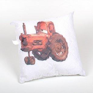"""Подушка """"Карусель"""", тракторы на белом"""