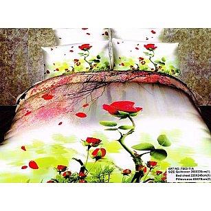 Покрывало Танго Сатин-панно, красный, зеленый, 220*240 см