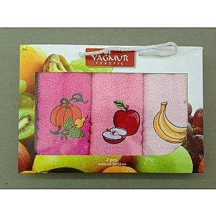 Комплект кухонных полотенец Yagmur Фрукты, 30*50 см - 3 шт, розовый