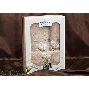 Комплект полотенец Yagmur ZAMBAK (Кала) Cotton в коробке (30*50; 50*90; 70*140), бежевый