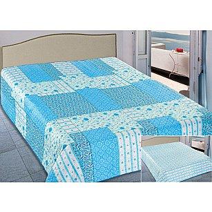 Покрывало Elegant (пэчворк) №073, голубой, белый