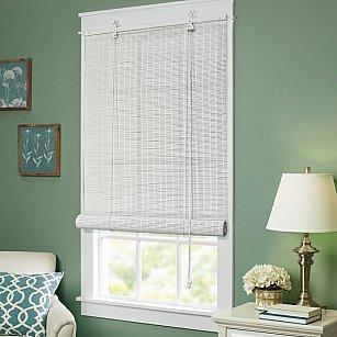 Бамбуковая рулонная штора, белый, 60 см