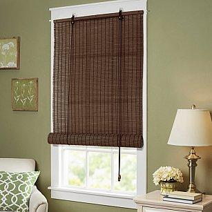 Бамбуковая рулонная штора, коричневый, 60 см