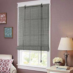 Бамбуковая рулонная штора, серый, 60 см