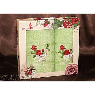 Комплект полотенец Cottonist Kurdele (Розе) в коробке (50*90; 70*140), салатовый