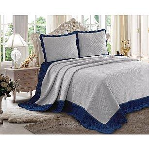 Покрывало велюр Танго Montblanc, синий, серый, 240*260 см