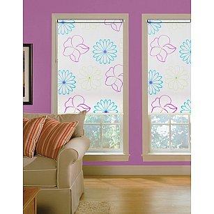 """Рулонная штора ролло lux """"Samba"""", белый, цветы голубые, розовые"""