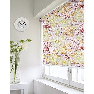 "Рулонная штора ролло lux ""Sirtaki"", мелкий цветок зеленый, оранжевый, розовый"