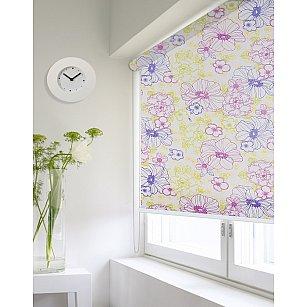 """Рулонная штора ролло lux """"Sirtaki"""", мелкий цветок желтый, фиолетовый, розовый"""