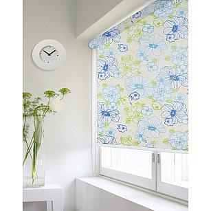 """Рулонная штора ролло lux """"Sirtaki"""", мелкий цветок синий, голубой"""