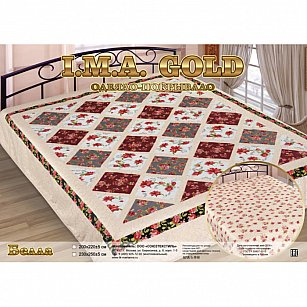 """Одеяло-покрывало I.M.A. Gold """"Белла"""", бежевый, розовый, бордовый"""