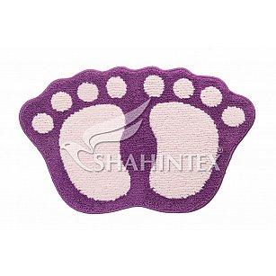 Коврик Shahintex Лапки Microfiber совмещенные, фиолетовый 61