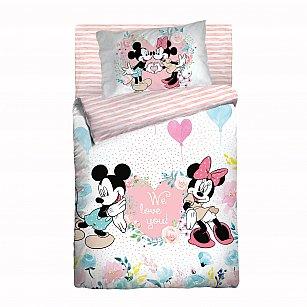 КПБ Облачко ясли Mickey & Minnie с простыней на резинке (Новорожденный)